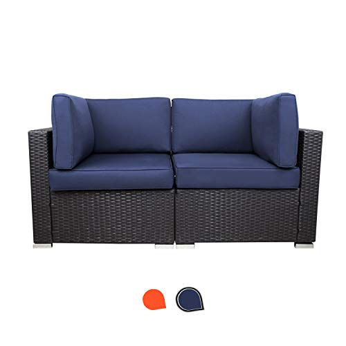 EXCITED WORK Patio Sectional Furniture Corner Sofa,Low Back All-Weather Wicker Loveseats Outdoor Rattan Couch Set Conversation Sets(Dark Blue)