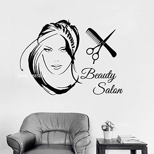 wopiaol Beauty Salon Logo Mädchen Wandtattoos Vinyl Home Decor Art Aufkleber Frau mit stilvollen Haarschere Haarschnitt Haar Wandbild