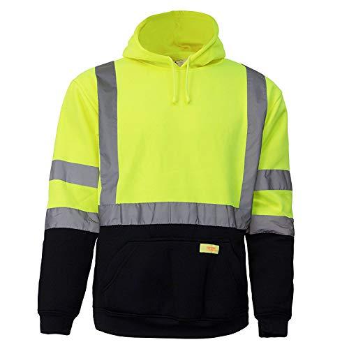 New York Hi-Viz Workwear H8312 Men's ANSI Class 3 High Visibility Class 3 Sweatshirt, Hooded Pullover, Knit Lining, Black Bottom (Lime, Large)