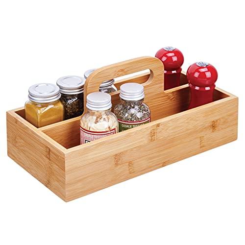 mDesign Organizador de Cocina – Práctica Caja de almacenaje para Cocina, Muebles y despensa – Cesta con asa de Madera de bambú – Natural