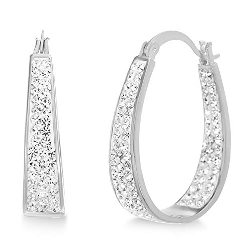 Devin Rose Oval Inside Outside Hoop Earrings for Women made with Swarovski Crystals in Rhodium Plated Brass (White)