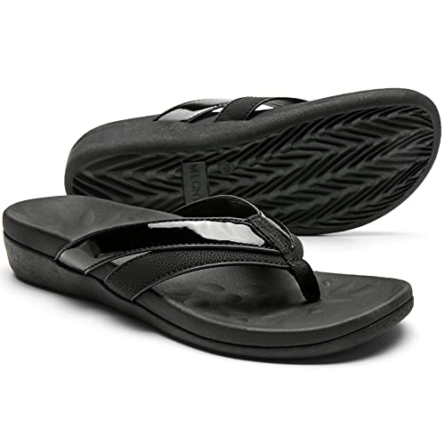 Orthopedic Flip Flop Sandals for Women, Supportive Sandals for Plantar Fasciitis Flat Feet, Comfortable Walking Thong Style Sandals for Heel and Foot Pain Relief Size7