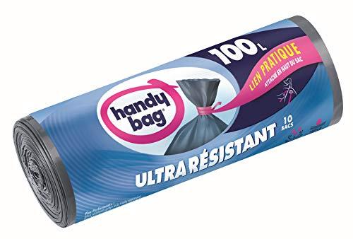 Handy Bag 1 Rouleau de 10 Sacs Poubelle 100 L, Lien Pratique, Ultra Résistant, Anti-Fuites, 82 x 95 cm, Gris Foncé, Opaque