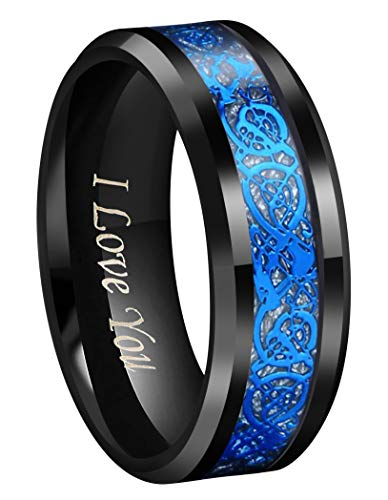 CROWNAL 8mm Black Tungsten Carbide Ring Wedding Band Blue Celtic Dragon Sliver Meteorite Background Inlay Engraved I Love You Size 7 to 17 (8mm,10.5)