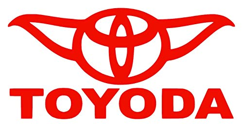 Toyoda [Pick Any Color] Star Wars Yoda Vinyl Transfer Sticker Decal for Car/Truck/Jeep/Window/Bumper (Small (5in x 2.5in), Red)