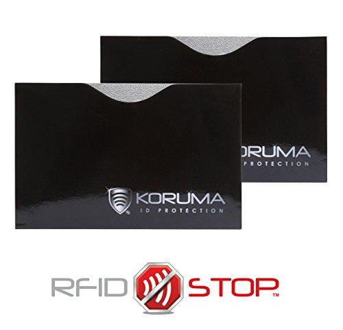 Étui protége des cartes de crédit, débit bloquant les signaux RFID   NFC, protection portefeuille Titulaire KUK-87HBLS (2 Pack)