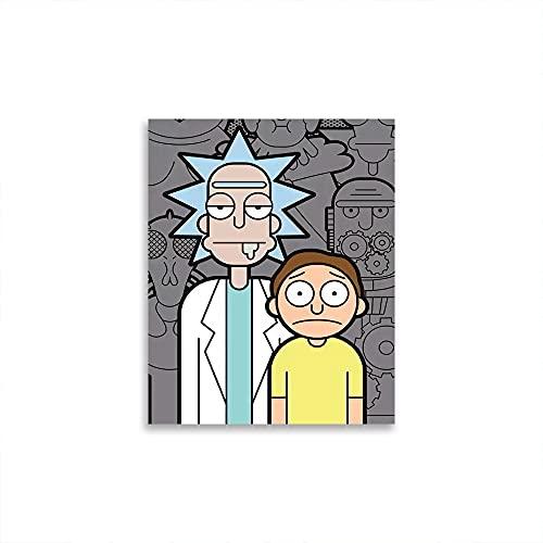 STTYE Póster de pared con personajes de dibujos animados de Rick y Morty para decoración de pared minimalista de 40,6 x 60,9 cm