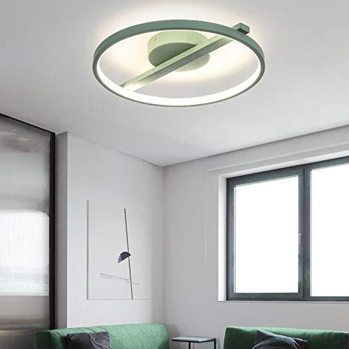 HE TUI Lámpara De Techo LED Moderna para Techo Regulable con Anillo Redondo Remoto Iluminación De Techo De Metal para Sala De Estar, Dormitorio, Comedor, Habitación para Niños, Verde,42cm