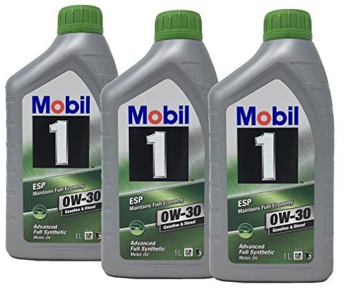 Mobil 1 100% synthetische motorolie ESP 0W-30, verpakking 3 liter