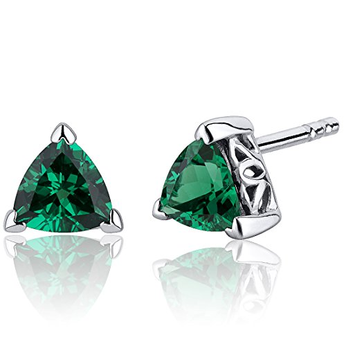 Peora 1.50 Carats Simulated Emerald Trillion Cut V Prong Stud Earrings Sterling Silver