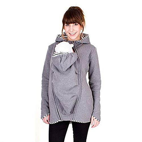 HNKJK Babytrage Frauen Pullover Känguru Mommy Babytrage Jacke 2 in 1 Multifunktions-Babytrage Damenpullover,Grau,XL