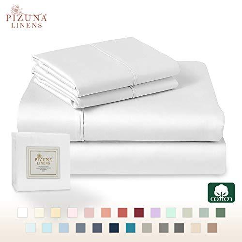 Pizuna 400 Thread Count 100% Long Staple Cotton Sateen Weave Bed Linen (Sheet Sets, Duvet Cover Set)