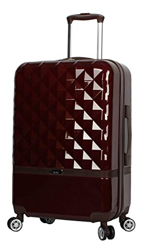Nicole Miller New York Madison Luggage Collection - Designer Lightweight Hardside Suitcase- 20 Inch Carry On Bag with 8-Rolling Spinner Wheels (Madison Burgundy)