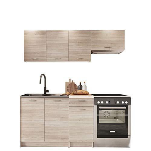 Küche Mela 180/120 cm, Küchenblock/Küchenzeile, 5 Schrank-Module frei kombinierbar (Sonoma Eiche/Petra Beige)
