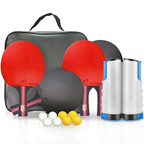 XDDIAS Ping Pong Paddle Set Portable Table Tennis Racket Sets 4Player Bundle Includes 4 Pro Premium Rackets 8 Game Balls 1 Retractable Net Storage Case for All Ages Indoor Outdoor Play