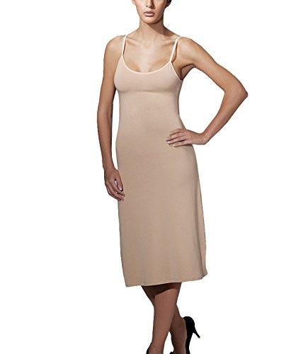 Doreanse Unterkleid Midi Kleid verstellbare Träger Damen Nachtkleid Baumwolle Modal Soft Cotton Full Slip (38 - M, Beige)