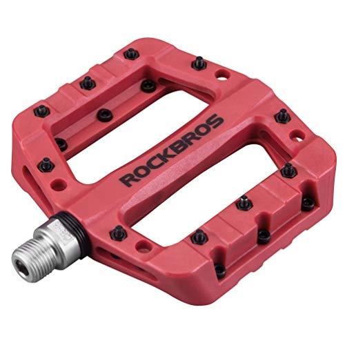RockBros Lightweight Mountain Bike Pedals Nylon Fiber Bicycle Platform Pedals for BMX MTB 9/16' Red
