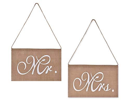 DSstyles silla Banner Burlap Mr. Y señora silla Sign guirnalda 2piezas silla lazos para rústico decoración para boda fiesta