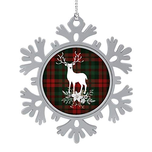 DESPKON Christmas Metal Ornaments Merry Christmas Plaid with Deer and Christmas Bouquet Metal Snowflake Ornament for Holiday Party, Crafting, Wedding, Christmas Trees and Embellishing 2 Inch