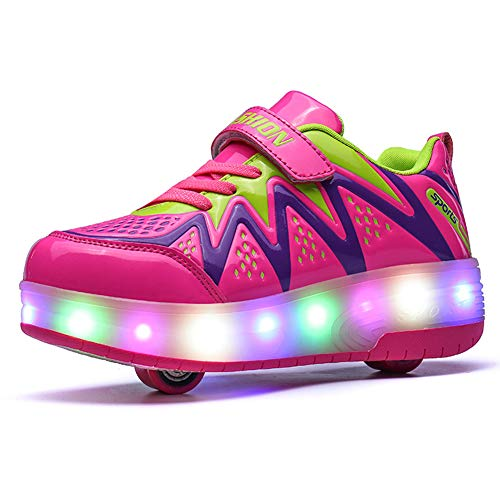 Bruce Wang Unisex-Kinder LED Licht Auf Einzelne Doppelrad Roller Schuhe Outdoor Sports Training Skate Turnschuhe Retractable Technical Skateboarding Laufsportschuhe (34 EU, Pink 8082)