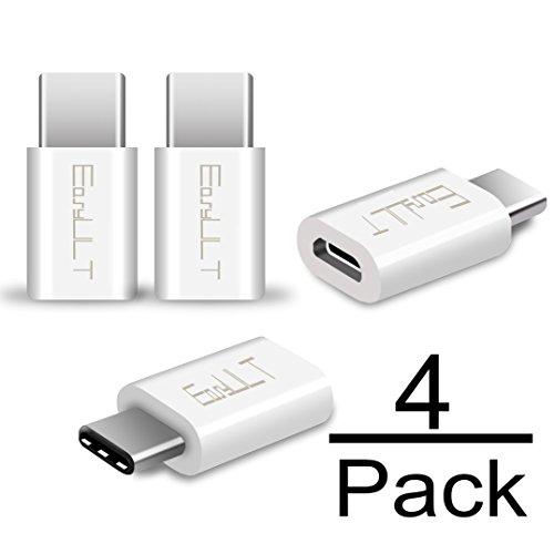EasyULT USB C Adapter[4 Stücke], USB C auf Micro USB Adapter mit für Galaxy S8/S8+/A5(2017)/A3(2017), P9/P10/Nova,Nexus 5X/6P,OnePlus 2/3/3T, LG G5/G6/V20 und andere Type C Geräte(Weiß)