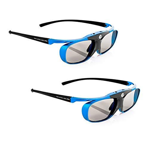 2x Hi-SHOCK DLP Pro Blue Heaven   DLP Link 3D Brille für 3D DLP Beamer von Acer, BenQ, Largo, Optoma, Viewsonic, LG [Shutterbrille   96-144 Hz   wiederaufladbar   32g   DLP Link   Blau]