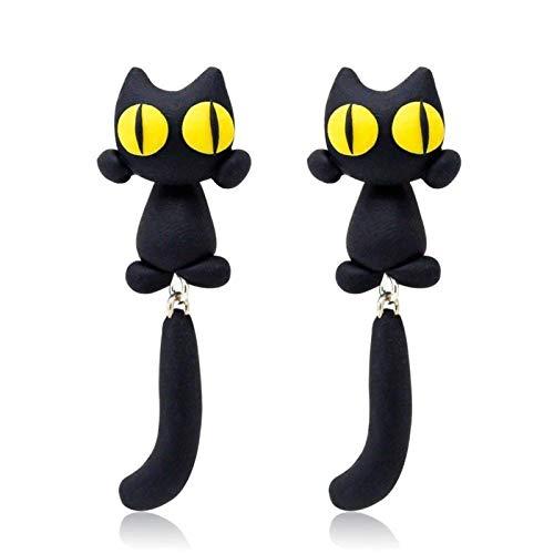 Starall Cat Earrings, Unique Yellow-Eye Cat Earrings Cartoon Cat Long Tail Splits Type Cute Women Earrings Jewelry Gift for Women Girls