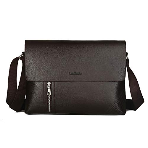 Leathario Messenger Bag Shultertas PU-leer 13 inch dames en heren laptoptas 33,5 * 6 * 24,5 500g