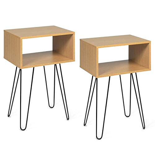 IDMarket - Lot de 2 Tables de Chevet Noemi Bois Pied épingle