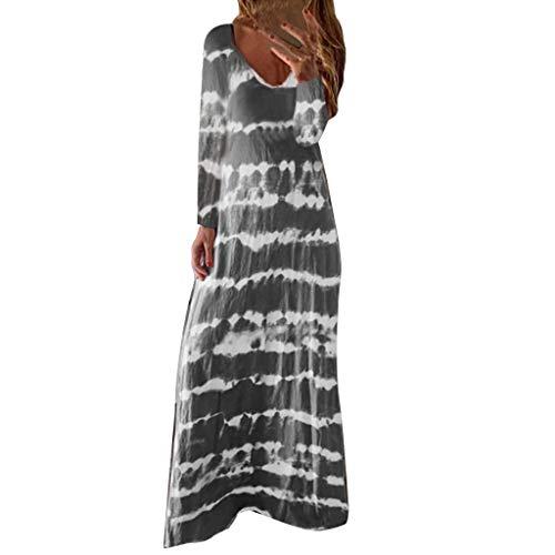 Cardith dames losse Geleidelijke print lange mouwen O-hals vloerlengte jurk vintage etnische stijl
