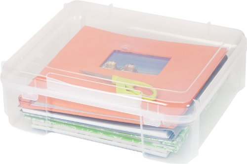 """IRIS USA SBC-450 Portable Project Case for 12"""" x 12"""" Scrapbooking Paper, 17"""" X 15"""", Clear 