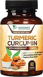 top rated Turmeric Curcumin Best Effect 95% Curcuminoid 1950 mg, BioPerine Black Pepper for ultra… 2021