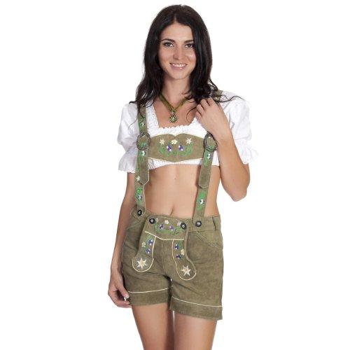 Damen Trachten Lederhose mit Tr�gern Gr�n Gr.40