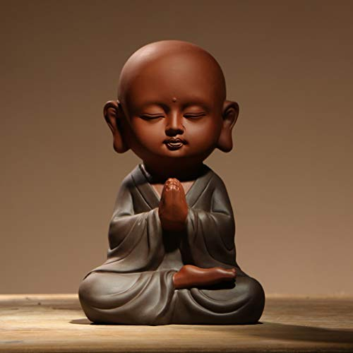 NYKK Buddha figurine Ceramics Porcelain Buddha Little Monk Figurines Cute Small Buddha Statue Sculptures Monk Figurine Best Wishes Present Statue Ornament