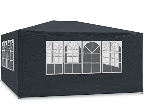 MaxxGarden Marquee 3 x 4 m Anthracite, 12 m² Gazebo with 4 Roll-Up Side Panels, Water-Repellent, UV Protection 50+, Choice of Colours