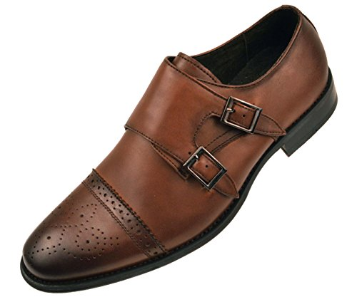 Asher Green Mens Brown Genuine Leather Classic Double Monk Strap Dress Shoe with Cap Toe: Style Stowe Brown-028 10.5 D (M) US