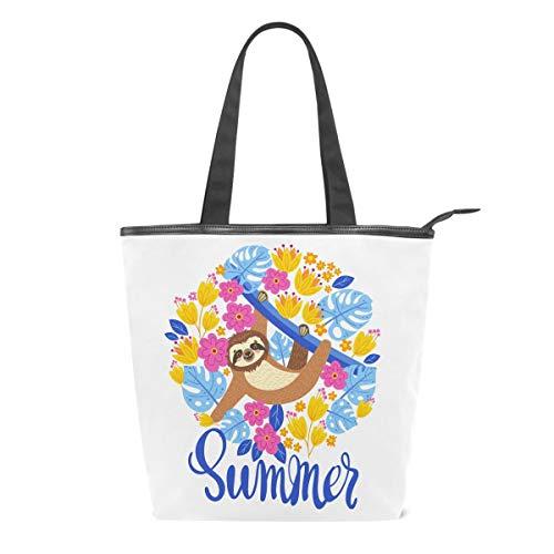 Sloth Branch bolsa de lona con diseño de hojas y flores, para mujeres, colorida, para escuela, libro, para llevar al hombro, para ir de compras, a la playa, viajes, al trabajo, al gimnasio, uso diario
