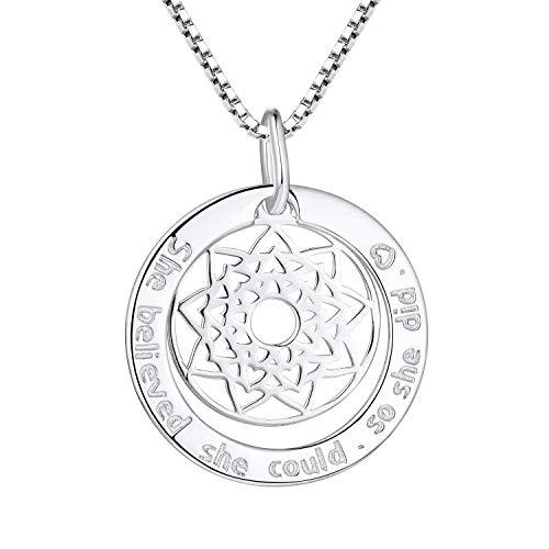FJ - Collar de plata 925 con mandala y Motto para mujer