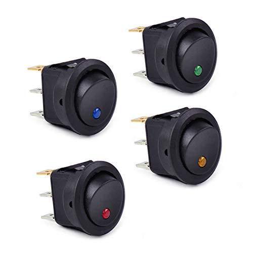 JSJJAYH Interruptor basculante 4 x Coche Impermeable LED Luz Interruptor de Palanca Encendido/Apagado Coche 12 V Rower ROOKER Dot Barco LED Cambio de Palanca Accesorios