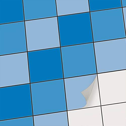 creatisto Fliesenfolie Fliesen Dekoration I Fliesen Folie Sticker Aufkleber Küchenfolie Bad Fliesen Küchengestaltung Wandaufkleber Fliesen I 10x10 cm - Motiv Blautöne - 9 Stück