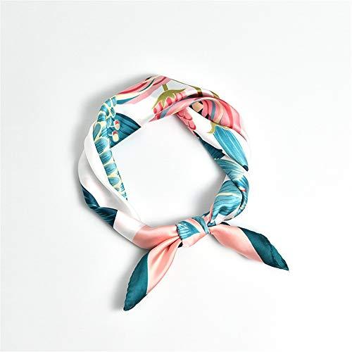 xinxin24 Damen dünner Seidenschal dekorative Kunst Haar Lead Schal Halstuch, dunkelgrüner Rand