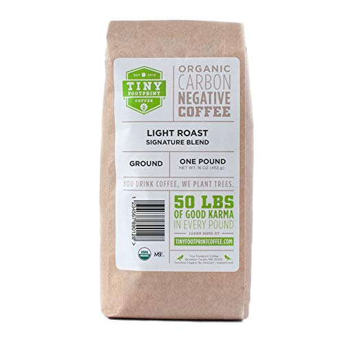 Tiny Footprint Coffee Organic Signature Blend Light Roast - Ground Coffee , USDA Organic & Carbon Negative - You Drink Coffee, We Plant Trees, 2 Pack
