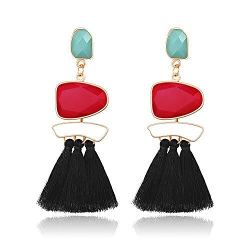 Pendientes largos de borla para mujer Pendientes bohemios Pendiente de gota con flecos geométricos grandes Joyería de moda femeninaRojo negro
