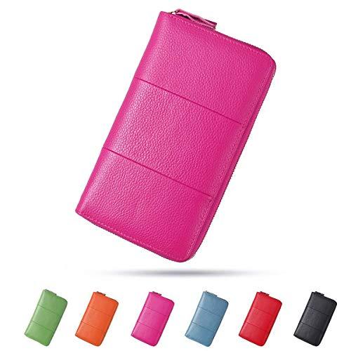 Damen Leder Geldbörse, Brenice RFID Rindleder Reißverschluss Lange Brieftaschen Große Kapazität 11 Kartenhalter Geldbörse für Frauen Rosa
