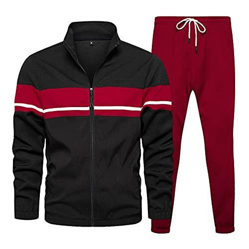 Xmiral Tuta Adulto Top camicetta pantaloni lunghi set uomo autunno a righe patchwork manica lunga ( L,1nero )