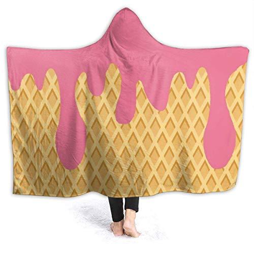 Cono de helado rojo amarillo Manta con capucha para mujer Manta de franela súper suave Sudadera con capucha Bata con capucha para vestirse Capa con capucha para ver televisión en el spa 60 'x 50'