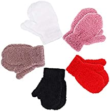Boao 5 Pairs Stretch Full Finger Mittens Knitted Gloves Winter Warm Kid Gloves for Baby Boys and Girls Supplies (1-4 Years Size)