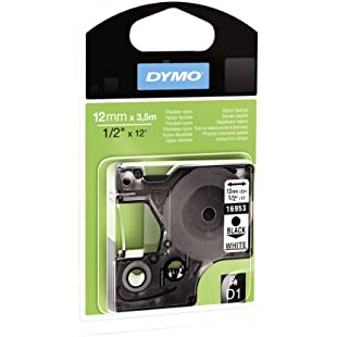 Dymo S0718040 D1 Labels for LabelManager Printers, Flexible Nylon, 12 mm x 3.5 m Roll - Black Print on White - 16957