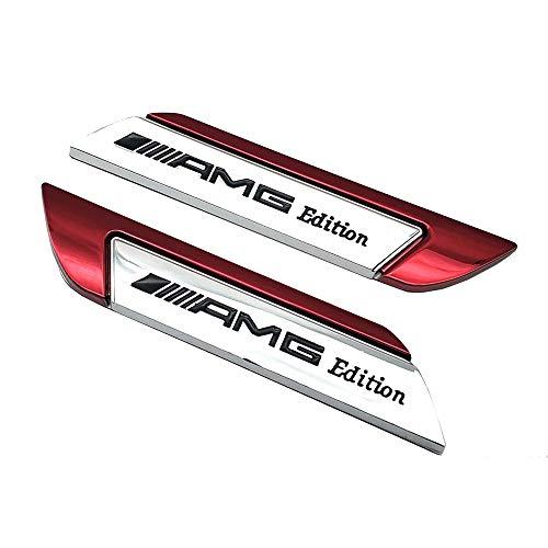 Pair Metal AMG Edition Logo Badge Side Door Fender Car Emblem Sticker Decal (red)