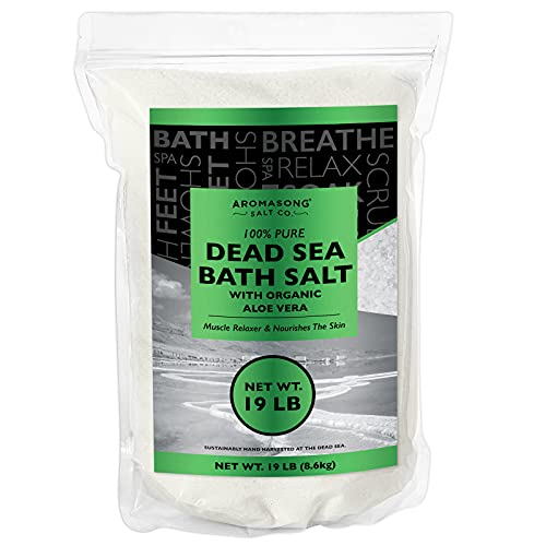 Dead Sea salt With ORGANIC ALOE VERA, Spa bath salts, 19 Lbs Fine Grain Large bulk resealable pack, 100% Pure & natural, Used for Body wash Scrub, Soak for Women & Men for Tired Muscles & Skin Issues.